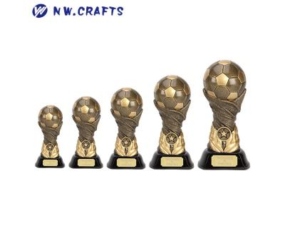 Polyresin antique gold soccer trophy